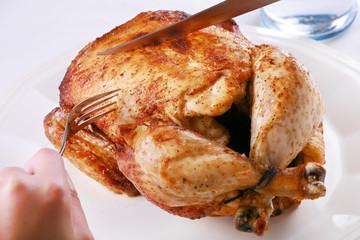 Carving Rotisserie chicken