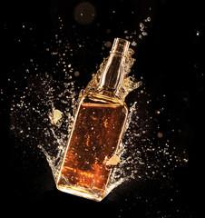 Concept of liquor splashing around bottle on black background