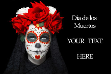 Woman with dia de los muertos makeup