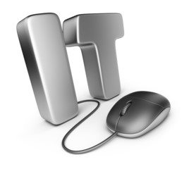 Mouse with IT letter. Information technology concept. 3D Icon is