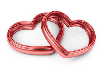 Red two love ring. 3D Isolated on white background