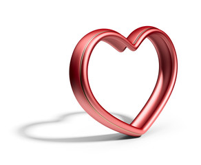 Single red heart.  Love concept. 3D Isolated