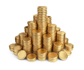 Big pile of coins. 3D Icon isolated on white background