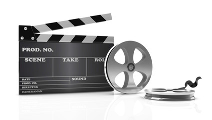 3d cinema clapboard and film