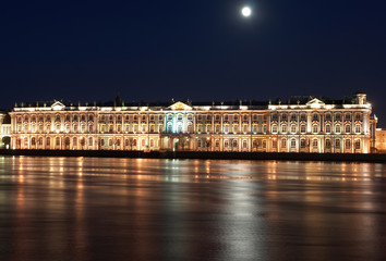 Night View of St. Petersburg. Winter Palace from Neva River