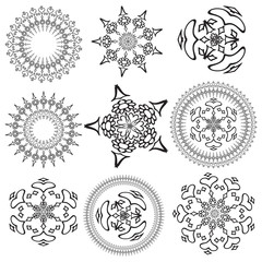 Set of mandalas on a white background (Vector)