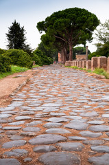 Wall Mural - Old roman stony street at Ostia Antica - Rome