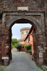Fotomurales - Entrance to Borgo di Ostia antica and Castello di Giulio II at R