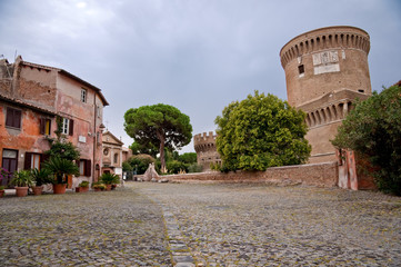 Fototapete - Borgo di Ostia antica and Castello di Giulio II at Rome