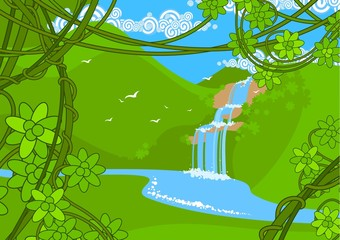 Poster Forest animals Waterfall
