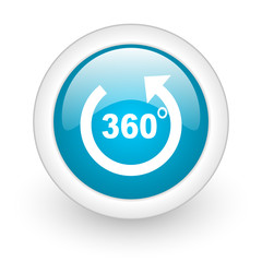 360 degrees panorama blue circle glossy web icon