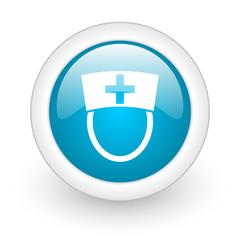 nurse blue circle glossy web icon on white background
