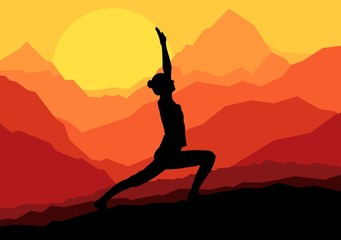 Yoga woman sunrise vector background