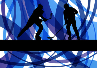 Hockey players on abstract ice field colorful lines illustration