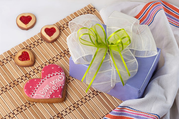Heart-shaped biscuits for Valentine's Day and gift box