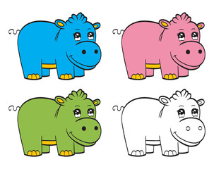 Cute cartoon baby hippo