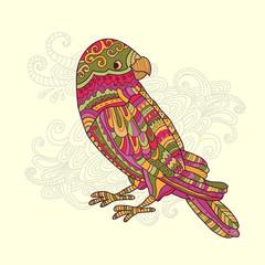 Cartoon motley tropical parrot