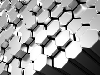 Shiny hexagon metal bars background