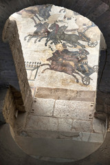 europe, italy, sicily, roman villa del casale mosaics