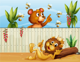 Wall Murals Bears A lion, a bear and bees