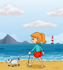 A girl strolling at the beach with a puppy