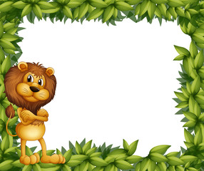 A lion at the left side of a leafy frame