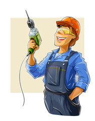 builder with drill  illustration isolated on white background