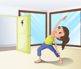 A girl warming up in a room