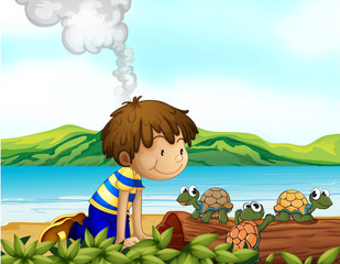 A boy watching the three turtles