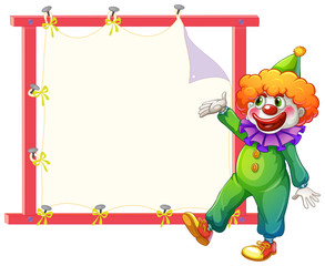A clown beside an empty signage