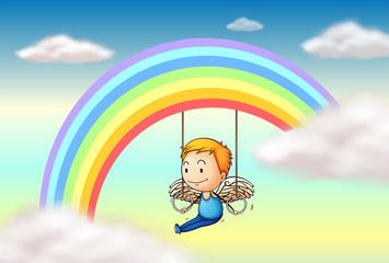Door stickers Rainbow An angel near the rainbow