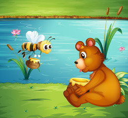 Canvas Prints River, lake A bear and a bee at the riverbank