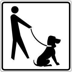 Papier Peint - Schild weiß - Hundeservice