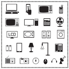 Electronics icons set, Vector illustration