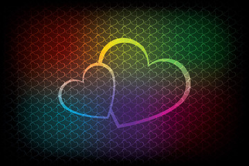 Colorful background with two hearts