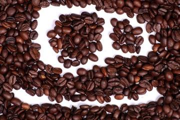 Kaffeetasse in Kaffeebohnen gemalt, Zeichen