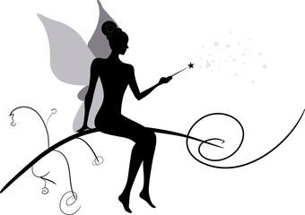 Silhouette of magic fairy