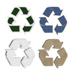 Recycle Symbol with stitch sewing material Background