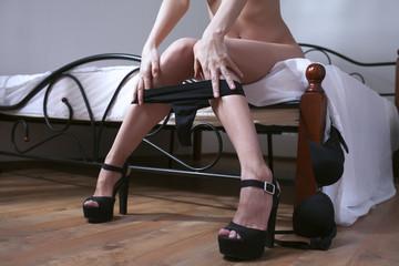 woman in bedroom wear lingerie