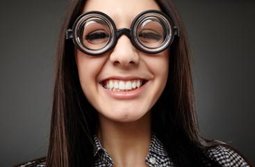 Female nerd closeup