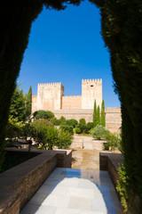 Alhambra de Granada. Alcazaba. Broken and Homage Towers