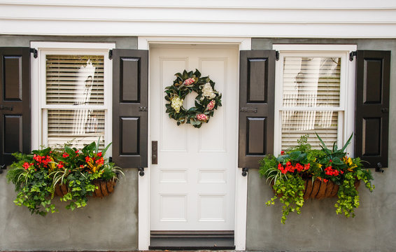 Flower Boxes and Wreath on Nice Small Home