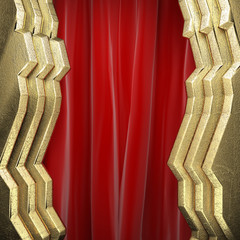 gold on red curtain