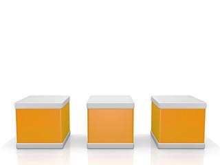 3 Würfel in orange - 3D