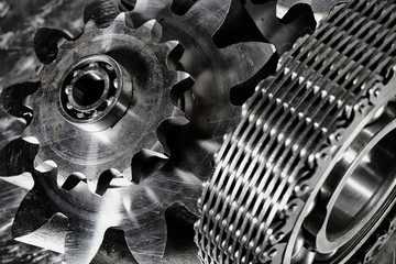 gears and bearings driven by timing chain, duplex blue toning