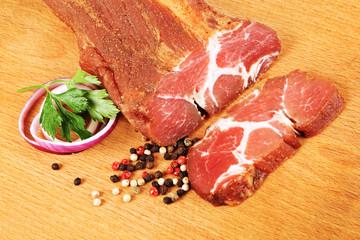 Spicy pork loin stick and slice