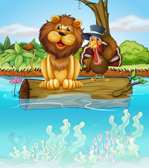 Foto op Plexiglas Rivier, meer A lion and a turkey above a floating trunk