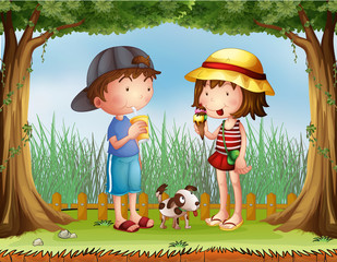 Poster de jardin Chiens A boy with a glass of juice and a girl with an ice cream