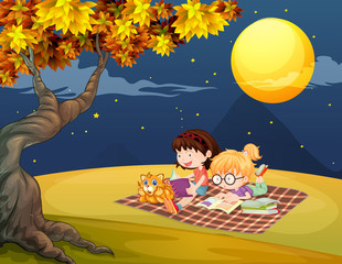 Girls reading under the bright full moon