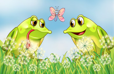 Two frogs and a butterfly at the garden